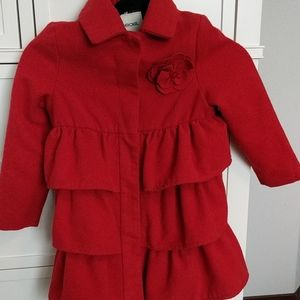 Red ruffle pea coat size 5t